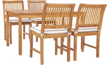 "5 Piece Teak Wood Bermuda 55"" Rectangular Small Bistro Dining Set with 4 Side Chairs - La Place USA Furniture Outlet"