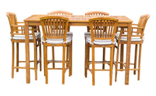 "7 Piece Teak Wood Orleans Patio Bistro Bar Set, 63"" Bar Table, 2 Bar Chairs w/ Arms & 4 Armless Bar Chairs - La Place USA Furniture Outlet"