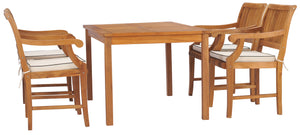 "5 Piece Teak Wood Bermuda 55"" Rectangular Small Bistro Dining Set with 4 Arm Chairs - La Place USA Furniture Outlet"