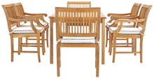 "7 Piece Teak Wood Bermuda 63"" Rectangular Medium Bistro Dining Set with 6 Arm Chairs - La Place USA Furniture Outlet"