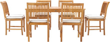 "7 Piece Teak Wood Bermuda 63"" Rectangular Medium Bistro Dining Set with 6 Side Chairs - La Place USA Furniture Outlet"