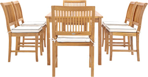 "7 Piece Teak Wood Bermuda 71"" Rectangular Large Bistro Dining Set with 2 Arm Chairs & 4 Side Chairs - La Place USA Furniture Outlet"