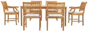 "7 Piece Teak Wood Bermuda 71"" Rectangular Large Bistro Dining Set with 6 Arm Chairs - La Place USA Furniture Outlet"