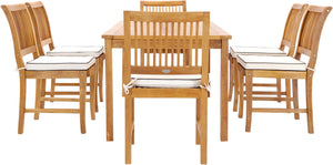 "7 Piece Teak Wood Bermuda 71"" Rectangular Large Bistro Dining Set with 6 Side Chairs - La Place USA Furniture Outlet"