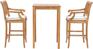 "3 Piece Teak Wood Castle Intimate Patio Bistro Bar Set with 27"" Bar Table & 2 Barstools with Arms - La Place USA Furniture Outlet"