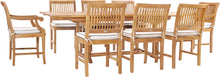 9 Piece Teak Wood Castle Patio Dining Set with Rectangular Extension Table, 6 Side Chairs and 2 Arm Chairs - La Place USA Furniture Outlet