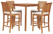 "5 Piece Teak Wood Castle Patio Bistro Bar Set with 35"" Bar Table & 4 Barstools - La Place USA Furniture Outlet"