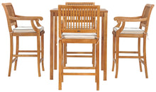 "5 Piece Teak Wood Castle Patio Bistro Bar Set with 35"" Bar Table & 4 Barstools with Arms - La Place USA Furniture Outlet"
