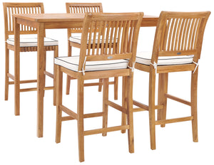 "5 Piece Teak Wood Castle 55"" Rectangular Small Bistro Bar Set including 4 Barstools - La Place USA Furniture Outlet"