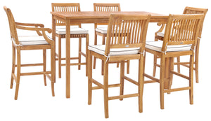 "7 Piece Teak Wood Castle 63"" Rectangular Medium Bistro Bar Set including 2 Barstools with Arms and 4 Barstools - La Place USA Furniture Outlet"