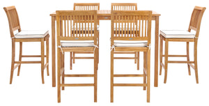 "7 Piece Teak Wood Castle 63"" Rectangular Medium Bistro Bar Set including 6 Barstools - La Place USA Furniture Outlet"
