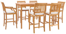 "7 Piece Teak Wood Castle 71"" Rectangular Large Bistro Bar Set including 2 Barstools with Arms and 4 Barstools - La Place USA Furniture Outlet"
