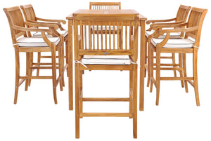 "7 Piece Teak Wood Castle 71"" Rectangular Large Bistro Bar Set with 6 Barstools with Arms - La Place USA Furniture Outlet"