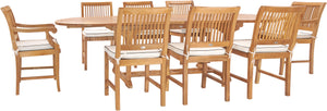 9 Piece Teak Wood Castle Patio Dining Set with Oval Extension Table, 6 Side Chairs and 2 Arm Chairs - La Place USA Furniture Outlet