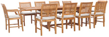 11 Piece Teak Wood Castle Patio Dining Set with Rectangular Double Extension Table, 8 Side Chairs and 2 Arm Chairs - La Place USA Furniture Outlet