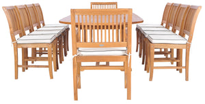 11 Piece Teak Wood Castle Patio Dining Set with Oval Double Extension Table, 8 Side Chairs and 2 Arm Chairs - La Place USA Furniture Outlet
