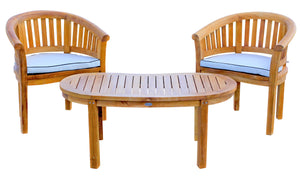 Teak Wood Peanut 3 Piece Patio Lounge Set, 2 Chairs & Coffee Table - La Place USA Furniture Outlet