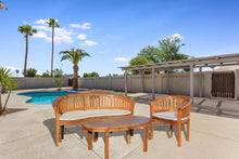 Teak Wood Peanut 3 Piece Patio Lounge Set, Double Bench, Chair & Coffee Table - La Place USA Furniture Outlet