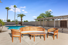 Teak Wood Peanut 4 Piece Patio Lounge Set, Triple Bench, 2 Chairs & Coffee Table - La Place USA Furniture Outlet