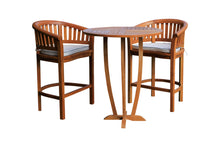"Teak Wood Peanut 3 Piece Patio Bar Set, 2 Bar Chairs and 35"" Round Miami Bar Table - La Place USA Furniture Outlet"