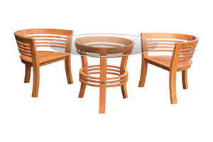 "3 Piece Teak Wood Half Moon Patio Dining Set, 2 Chairs and 47"" Round Table - La Place USA Furniture Outlet"