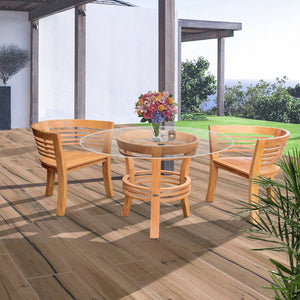 "3 Piece Teak Wood Half Moon Patio Dining Set, 2 Chairs and 47"" Round Table"