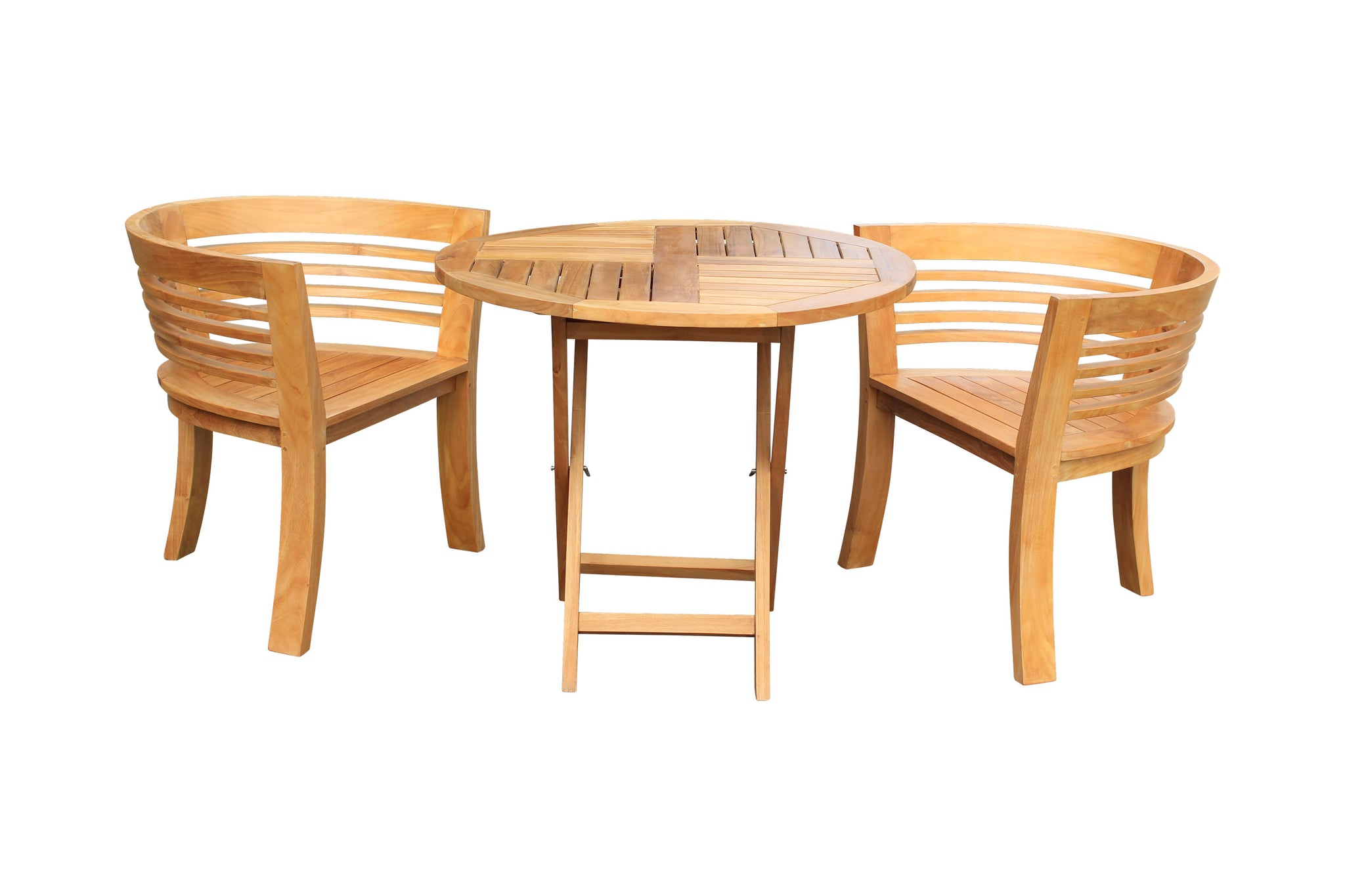 Picture of: 3 Piece Teak Wood California Half Moon Patio Dining Set 2 Chairs And La Place Usa Furniture Outlet