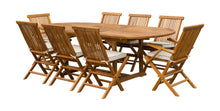 9 Piece Teak Wood Miami Patio Dining Set with Oval Extension Table, 2 Folding Arm Chairs and 6 Folding Side Chairs - La Place USA Furniture Outlet