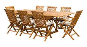 9 Piece Teak Wood Miami Patio Dining Set with Rectangular Extension Table, 2 Folding Arm Chairs and 6 Folding Side Chairs - La Place USA Furniture Outlet