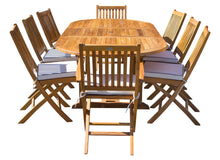9 Piece Teak Wood Santa Barbara Patio Dining Set with Oval Extension Table, 2 Folding Arm Chairs and 6 Folding Side Chairs - La Place USA Furniture Outlet