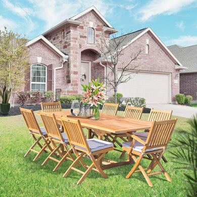 9 Piece Teak Wood Santa Barbara Patio Dining Set with Rectangular Extension Table, 2 Folding Arm Chairs and 6 Folding Side Chairs