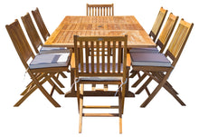 9 Piece Teak Wood Santa Barbara Patio Dining Set with Rectangular Extension Table, 2 Folding Arm Chairs and 6 Folding Side Chairs - La Place USA Furniture Outlet