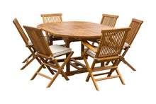 7 Piece Teak Wood Miami Patio Dining Set with Round to Oval Extension Table, 2 Arm Chairs and 4 Side Chairs with Cushions - La Place USA Furniture Outlet