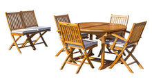 7 Piece Teak Wood Santa Barbara Patio Dining Set with Round to Oval Extension Table, 2 Arm Chairs and 4 Side Chairs with Cushions - La Place USA Furniture Outlet