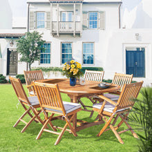 7 Piece Teak Wood Santa Barbara Patio Dining Set with Round to Oval Extension Table, 2 Arm Chairs and 4 Side Chairs with Cushions