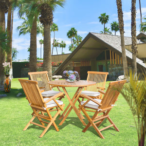 "5 Piece Teak Wood California Dining Set with 47"" Round Folding Table and 4 Folding Arm Chairs"