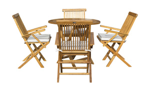 "5 Piece Teak Wood California Dining Set with 47"" Round Folding Table and 4 Folding Arm Chairs - La Place USA Furniture Outlet"