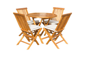 "5 Piece Teak Wood California Dining Set with 47"" Round Folding Table and 4 Folding Side Chairs - La Place USA Furniture Outlet"
