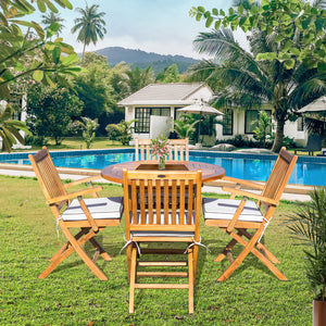 "5 Piece Teak Wood Santa Barbara Patio Dining Set, 47"" Round Folding Table with 4 Folding Arm Chairs"