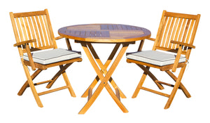 "3 Piece Teak Wood Santa Barbara Patio Dining Set, 36"" Round Folding Table with 2 Folding Arm Chairs - La Place USA Furniture Outlet"