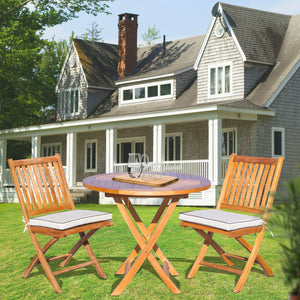 "3 Piece Teak Wood Santa Barbara Patio Dining Set, 36"" Round Folding Table with 2 Folding Side Chairs"
