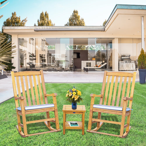 3 Piece Teak Wood Santiago Patio Lounge Set with 2 Rocking Chairs and Side Table