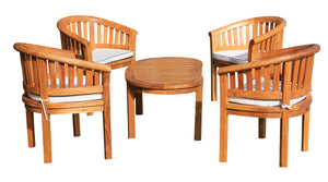 Teak Wood Peanut 5 Piece Patio Conversation Set with 4 Chairs Coffee Table - La Place USA Furniture Outlet