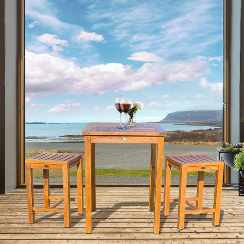 3 Piece Teak Wood Seville Small Counter Height Patio Bistro Set, 2 Counters Stools and 27