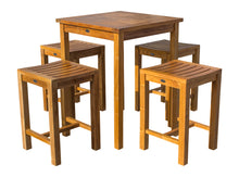 "5 Piece Teak Wood Seville Small Counter Height Patio Bistro Set, 4 Counters Stools and 27"" Square Table - La Place USA Furniture Outlet"