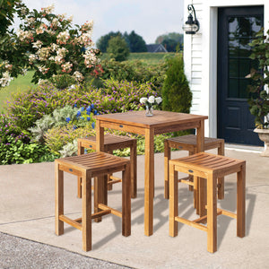 "5 Piece Teak Wood Seville Small Counter Height Patio Bistro Set, 4 Counters Stools and 27"" Square Table"