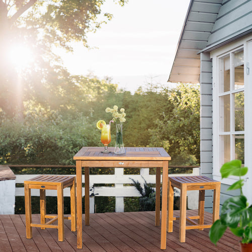 3 Piece Teak Wood Seville Medium Counter Height Patio Bistro Set, 2 Counters Stools and 35