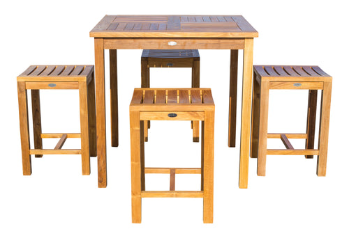 5 Piece Teak Wood Seville Medium Counter Height Patio Bistro Set, 4 Counters Stools and 35