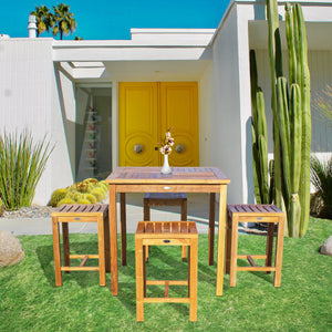 "5 Piece Teak Wood Seville Medium Counter Height Patio Bistro Set, 4 Counters Stools and 35"" Square Table"