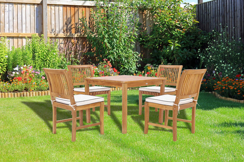 5 Piece Teak Wood Florence Bistro Dining Set with 35